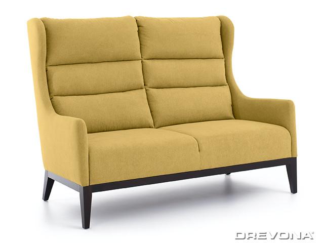 Dvojkreslo ušiak žlto zelený + wenge nohy AVA HOLLY 2,5ALR Soro 40