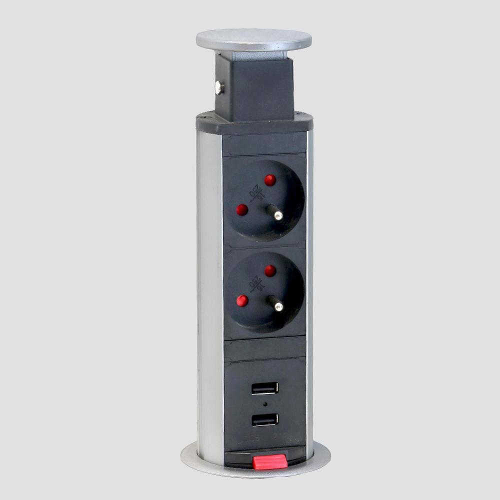 DREVONA09 Elektrická výsuvná zásuvka 2xUSB REA ELE 2 (ADA)