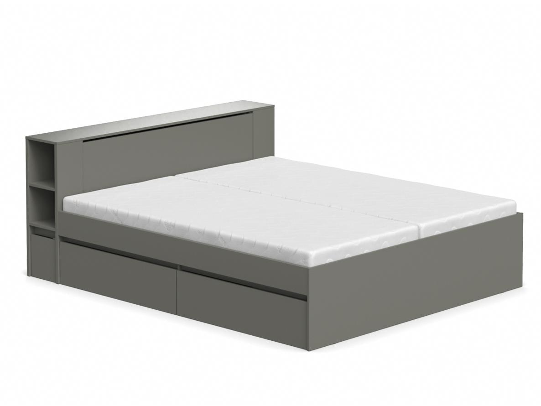 DREVONA09 Manželská posteľ graphite 180 cm REA AMY