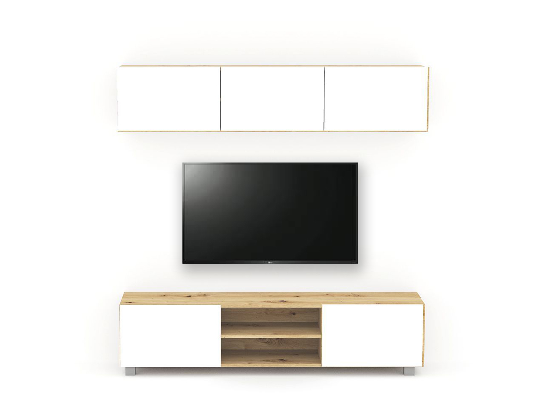 DREVONA03 Obývacia stena - zostava Dub artisan biele dvierka TETRIS Z2 180 cm