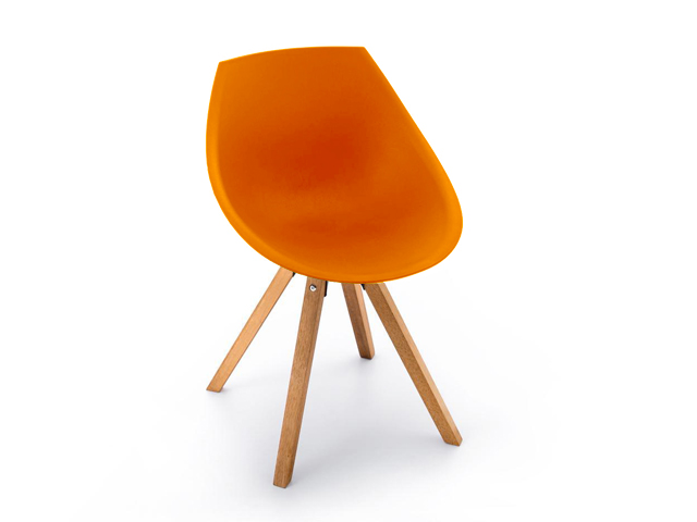DREVONA09 Plastová stolička do jedálne oranžová GORKA