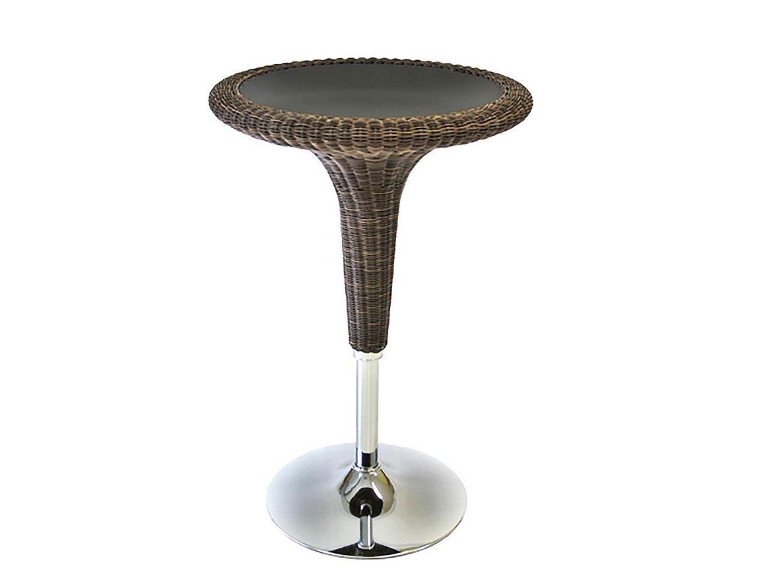 DREVONA09 Ratanový barový stôl hnedý MAURA