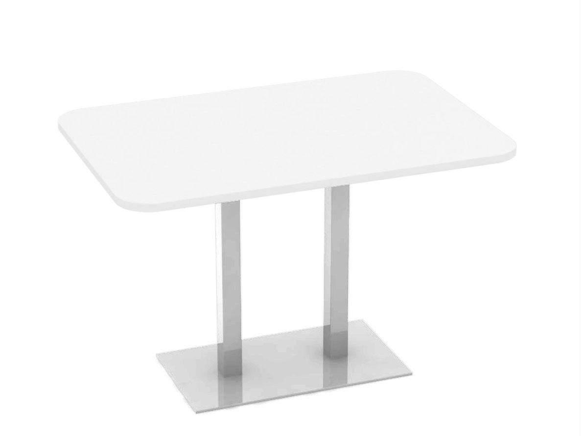 DREVONA09 Stôl 120 x 80 biely + nerez podnož REA FLAT 6