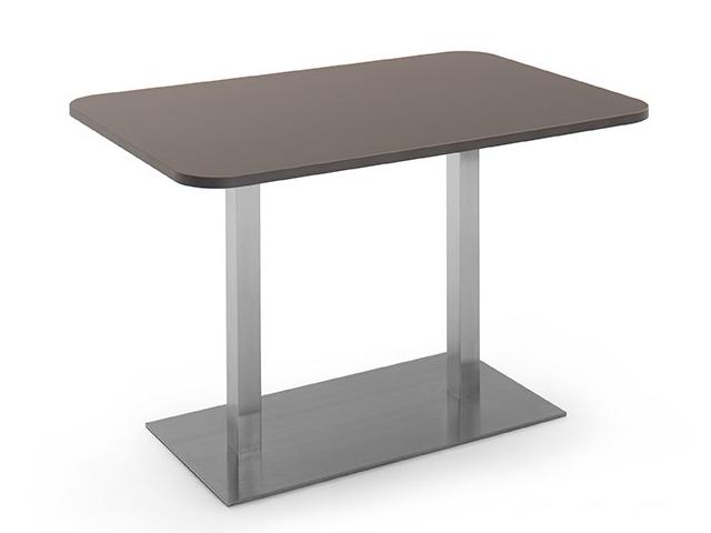 DREVONA09 Stôl do kaviarne 120 x 80 šedý + nerez podnož REA FLAT 6