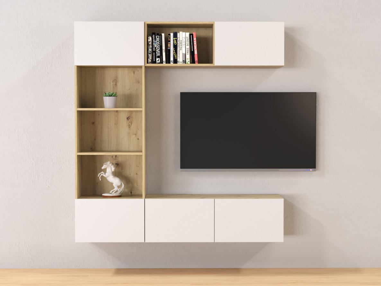 DREVONA03 Závesná obývacia stena - zostava Dub artisan biele dvierka TETRIS Z1 180 cm