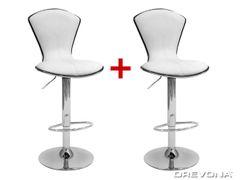 Barová stolička biela koženka LINA