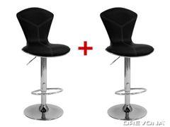 Barová stolička čierna koženka LINA