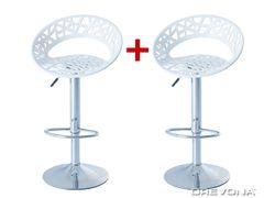 Barové stoličky biele plastové ORIA