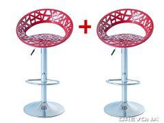 Barové stoličky červené plastové ORIA