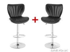 Barové stoličky čierna koženka FINA