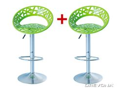 Barové stoličky zelené plastové ORIA