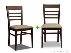 Kuchynské stoličky orech + béžová TATA (2ks)