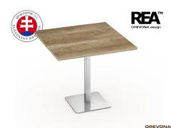 Stôl 80x80 dub can. nerez podnož FLAT 1