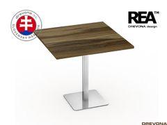 Stôl 80x80 orech rock. nerez podnož FLAT 1
