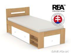 Študentská posteľ 90 buk + biela LARISA