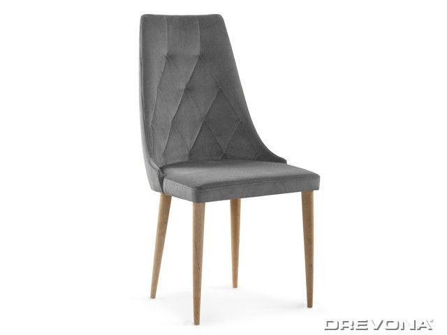 Čalúnená jedálenská stolička šedá látka + dub CAREN II