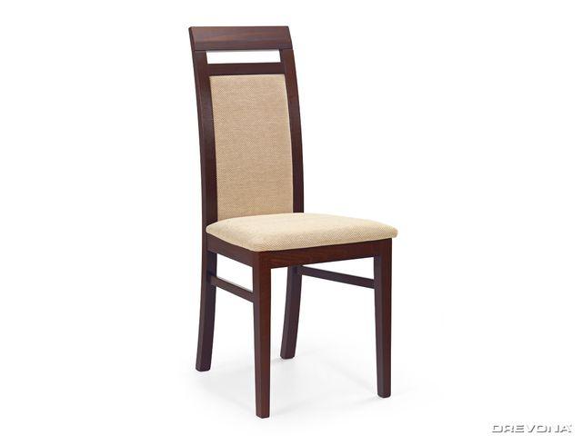Jedálenská stolička drevená tmavý orech a béžová látka ALBERT