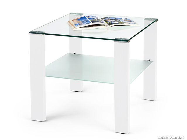 Konferenčný stolík sklenený biely SIMPLE KVADRAT