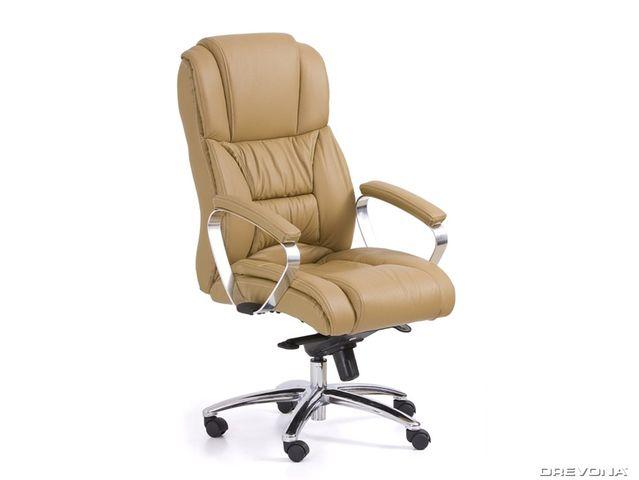 Kožené kancelárske kreslo svetlo hnedé FOSTER
