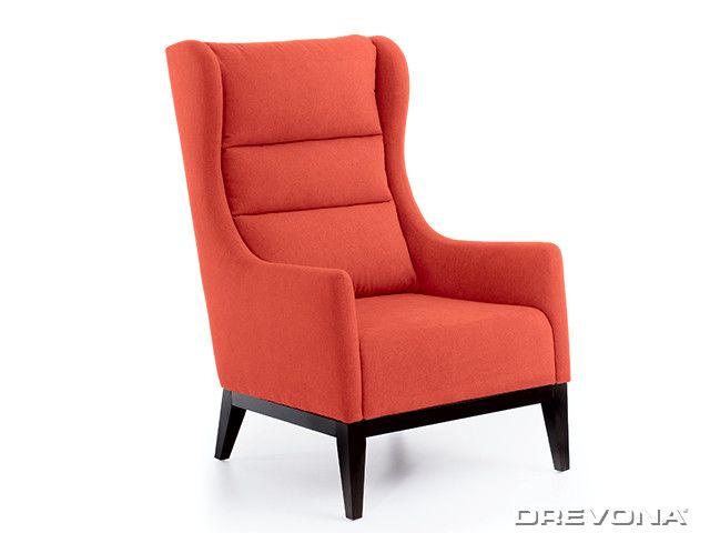 Kreslo ušiak oranžový + wenge nohy AVA HOLLY Soro 51