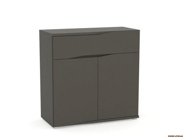 Moderná komoda s dvierkami šedá grafit REA WAVE 5
