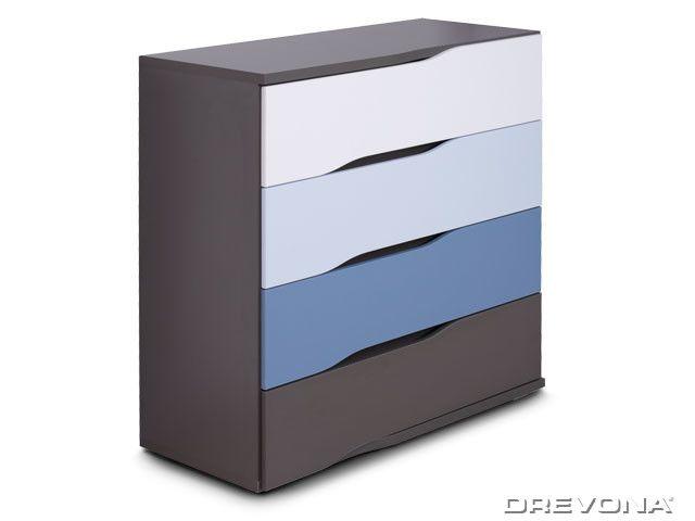 Moderná komoda šedá+biela, modrá, grafit REA WAVE 3