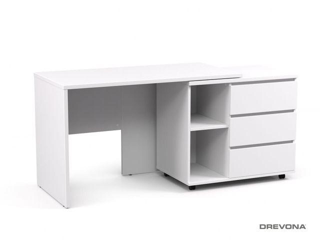 Písací stolík s otočným kontajnerom biely REA ROY pravý