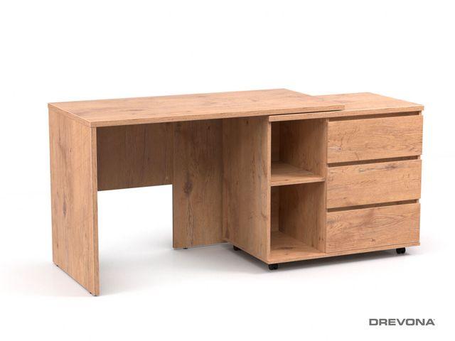 Písací stolík s otočným kontajnerom dub lancelot REA ROY pravý