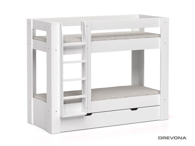 Poschodová posteľ REA PIKACHU biela, ľavá