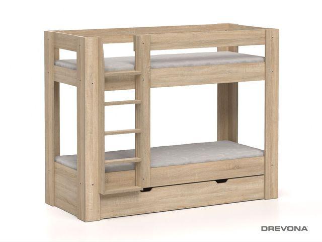 Poschodová posteľ REA PIKACHU dub bardolíno, ľavá
