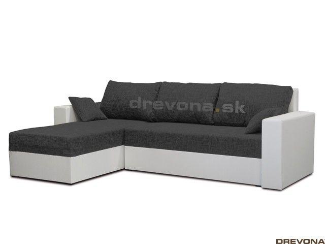 Rohová sedačka bielo-čierna KIKA