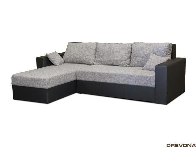 Rohová sedačka čierno-sivá KIKA