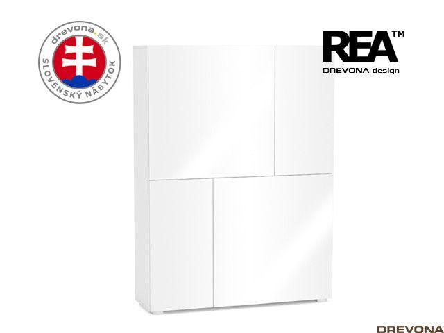 Skrinka biela/biely lacobel REBECCA 3-P