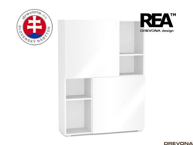 Skrinka biela/biely lacobel REBECCA 3-Z