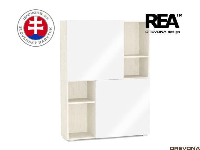 Skrinka navarra/biely lacobel REA REBECCA 3-Z