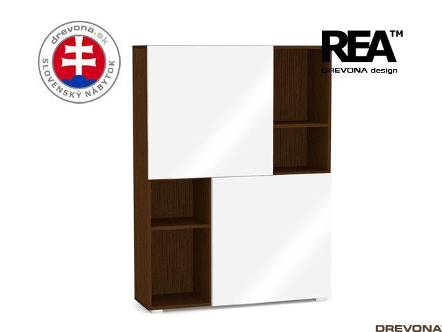 Skrinka wenge/biely lacobel REA REBECCA 3-Z