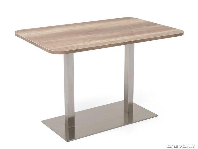 Stôl 120 x 80 dub canyon + nerez podnož FLAT 6