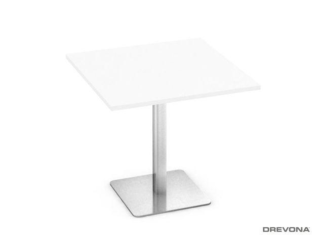 Stôl biely 80x80 nerez podnož FLAT 1
