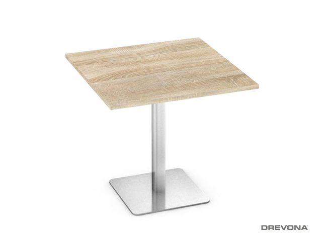 Stôl 80x80 dub bard. nerez podnož FLAT 1