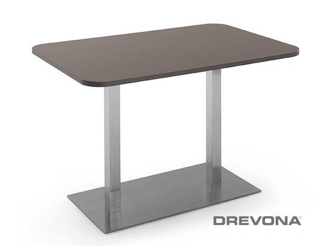 Stôl do kaviarne 120 x 80 šedý + nerez podnož FLAT 6