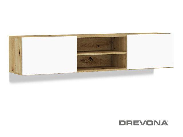 Závesná skrinka pod televízor TETRIS 04, 2DV: 1800, Dub Artisan + biele dvierka