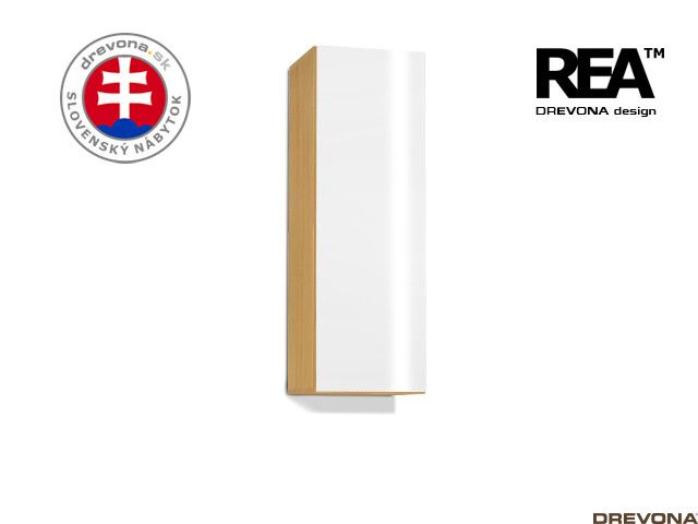 Zvislá skrinka buk/biely lacobel REBECCA 10