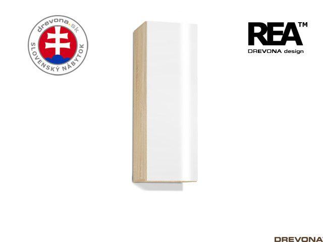 Zvislá skrinka dub bard/biely lacobel REBECCA 10