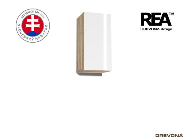 Zvislá skrinka dub c/biely lacobel REBECCA 9
