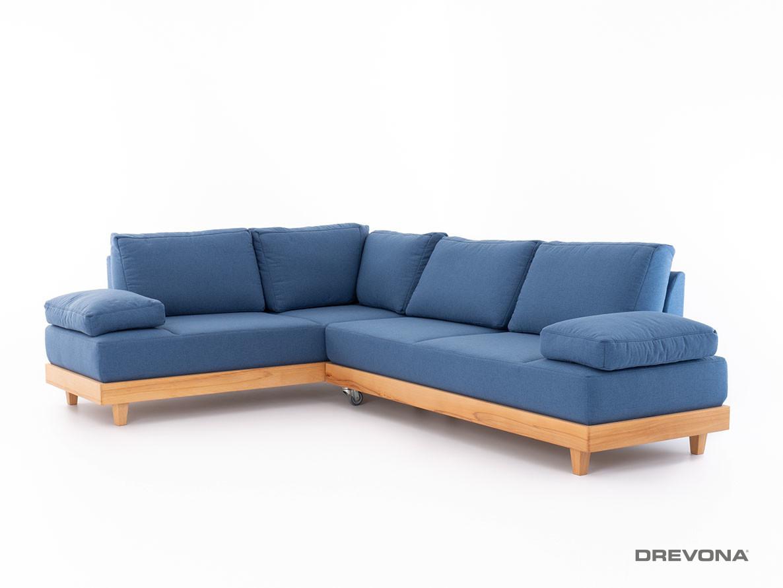 Rohová sedačka na každodenné spanie modrá LANA Jade 9402