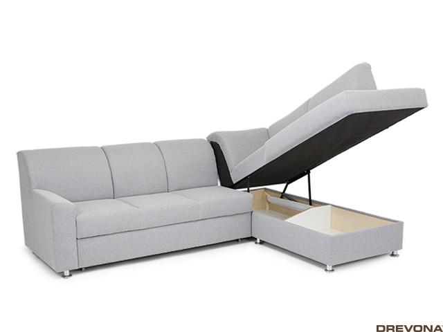 Rozkladacia sedačka pravá šedá EZRA