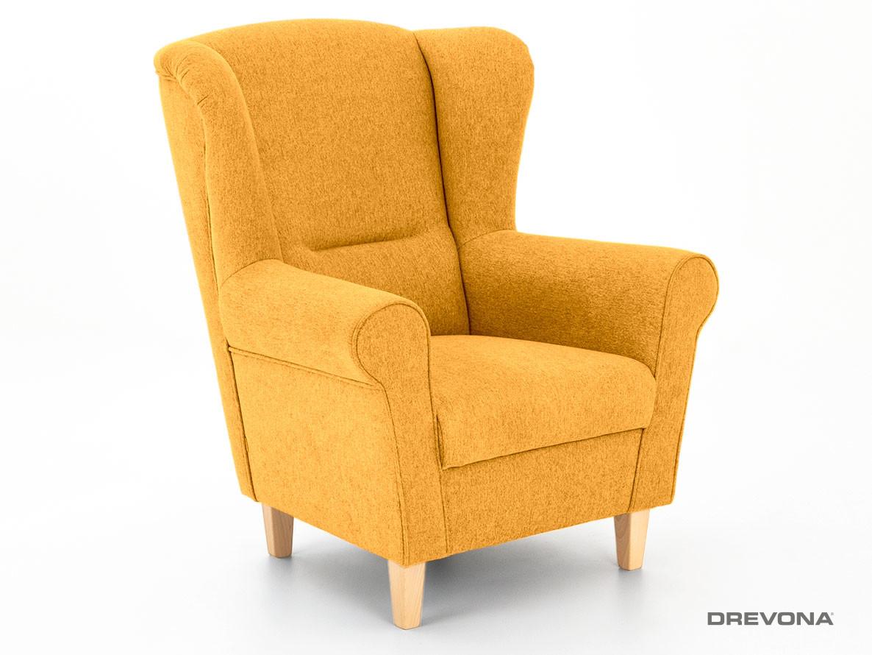 TV kreslo ušiak žlté + buk HUGO Mustard